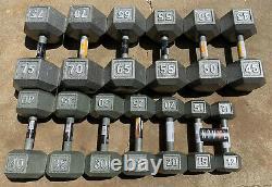 Cap Cast Iron Hex Dumbbells 10 75 Lbs Lot (choisissez Des Singles Ou Des Paires)