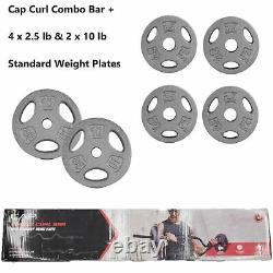 Cap Combo Curl Bar + 2 X 10 Lb 4 X 2,5 Lb Plaques De Poids Standard Avec Colliers De Verrouillage