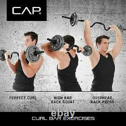 Cap Combo Curl Bar + 2 X 25 Lb 4 X 2,5 Lb Plaques De Poids Avec Colliers De Verrouillage 61,5 Lb