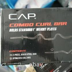 Cap Combo Curl Bar Avec Colliers De Verrouillage Et 30 Lbs De Plaques De Poids 41,5 Lbs Total