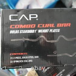 Cap Combo Curl Barre D'haltérophilie Avec Colliers + 50 Lb De Plaques D'apesanteur 61,5 Lb Ttl