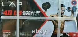 Cap Réglable 40lb Dumbbell Set Bar & Plaques Weight Lifting Home Gym Workout