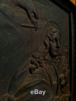 Cast Antique Fer Tile Femme Aigle / Faucon Serpent Cheminée Feu Arrière Mythique 13 Lb