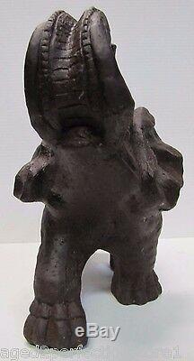 Cast Vintage Fer Art Elephant Cour Figural Jardin Doorstop Grand 31lb Lourd