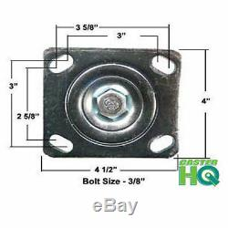 Casterhq Toolbox Caster Set 6 X 2 Red Poly Sur Fonte 4,800 Lbs Capacité