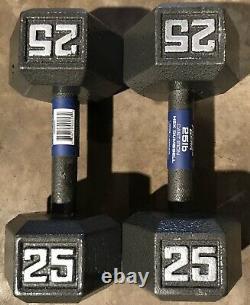Deux (2) 25 Lb De Fonte Hex Haltères Haltères Fitness Gear Poids Total 50 Lbs