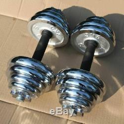 Efl Réglable Paire Totale 22-110 Lbs Fonte Gym Force Poids Haltères Set
