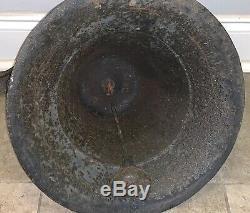 Énorme Old Lourd 52lbs Cast Antique Fer / École Bronze Church Farm Cow Dinner Bell