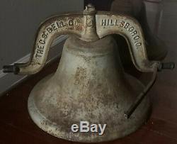 Énorme Vieux Lourd 77lbs Antique Fonte Navire École Church Farm Cow Dinner Bell