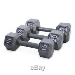 Ensemble De 2 Fonte Hex Haltères Home Gym Fitness Workout Barbell Poids Paire