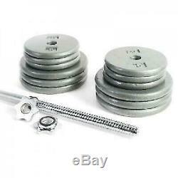 Fonte 100lb Poids Set & Chrome Bar Home Gym L'exercice Construire La Force Musculaire