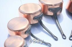 Français Vntage Copper Pan Set 5 Avec Casserole En Fonte Poignées 10.1lbs Lined Tin
