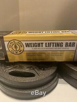 Golds Gym Poids Bar Ez Bar Set Avec Verrouillage Colliers Et 40lbs De Plaques Poids