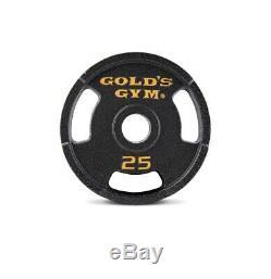Golds Gym Poids Olympique Set 110 Lbs Cast Plaques Et Barre De Fer