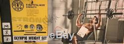 Golds Poids Gym Set Olympiques 110 Lbs Plaques Bar De Fonte D'or Barbell Avec La Tasse