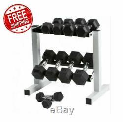 Hex Caoutchouc Haltère Poids Set 5-25 Lb Avec Rack Home Fitness Gym Fit Exercice