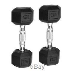 Hex Haltères En Caoutchouc Enduit Set Poids De 2 Cast Iron Home Gym Chrome 5 60 Lbs