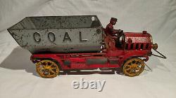 Hubley Charbon Dump Camion De 1915-1920, Massives 15,5 Pouces, 8 Lb. 8.5 Onces