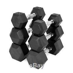 New Cap Caoutchouc Hex Dumbbells 5, 10, 20, 30, 50100 Lb Paires Unité De Fitness Fit