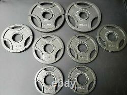 New Set Olympic Grip Weight Plate 10lb, 5lb, 2.5lb- Total 45lb (8 Plaques)- Fer