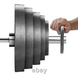 Nouveau 2 Full Olympic Cast Iron Weight Plate Set (245lbs) 5-7 Semaine Arrivée