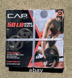 Nouveau! Cap 50lb Jeu De Poids Olympique (2) Plaques 25lb En Fonte Livraison Gratuite