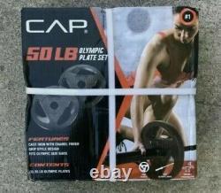 Nouveau Cap 50lb Olympic Weight Plate Set (2) 25 Lb Plaques Cast Iron Free Ship