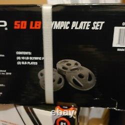 Nouveau Dans Box Cap 50 Lb Olympic Weight Plate Set (plaques 4x10 2x5 Lb) Free Ship