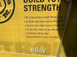 Nouveau Golds Poids Gym Set Cast Olympic Bar 110 Lbs Fer D'or Barbell Plaques