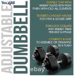 Nouveau Jamais Ouvert Yes4all 200 Lb Réglable Dumbbell Set (100 X 2) Expédié Rapidement