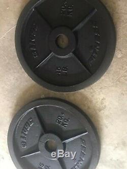 Nouveau Paire De Olympic Steel Poids Plaques 45lb