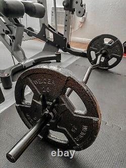 Nouvelle Barre De Bar De Biceps De Boucle Standard Ez Easy Avec Ensemble De Poids De 50 Lb. Livraison Gratuite