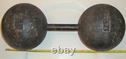 One Vintage York Globe Round Head 100 Lb Pound Circus Strongman Poids Haltère