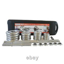 Paire 110lbs Haltères Réglables Barbell Set Gym Strength Weight Cast Iron