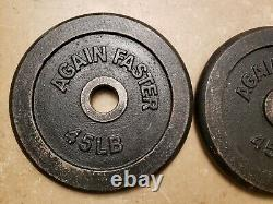 Paire 45lb Olympic Weight Plates 2 90lbs Total Again Faster Fast Ship