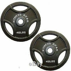 Paire De 2 Olympique 45lb 2 Poids Plaques Grip Handles- Nouveau 90lb Poids Total