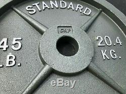Paire De 45lbs En Fonte Olympique Poids Disques- Cap Olympique Barbell Standard