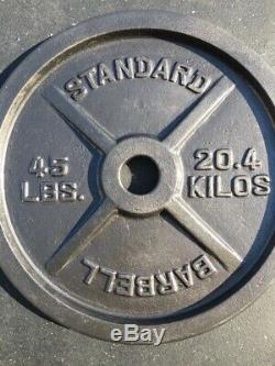 Paire De 45lbs En Fonte Poids Olympique Disques- Barbell Standard D'occasion