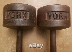 Paire De Fonte Vintage York Roundhead Haltères Poids Tête Ronde Pré USA