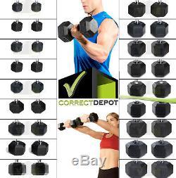 Pairs Caoutchouté Hex Haltères Fonte Poids Fitness De Musculation