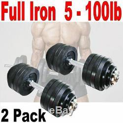 Paquet De 2 50lb Full Metal Fer Poids Total Haltères Réglables 100lb Haltères