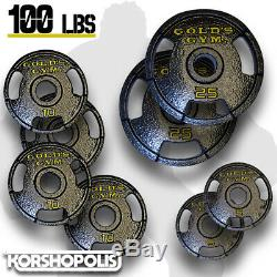 Plaques Olympiques Poids (50-100lb Sets) Home Gym Exercice Cast Iron Golds Gym Nouveau