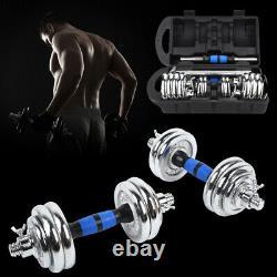 Poids Dumbbell Set Réglable Fitness Gym Home Cast Full Iron Steel Plaques 44lb