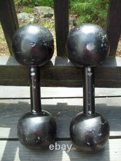 Rare Vtg Jackson Barbell 20lb Globe Dumbbells Bodybuilding Gym Strongman York Ab