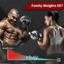 Réglable 44 Lb Poids Haltère Ensemble Cap Gym Barbell Plaques Body Workout Fitness