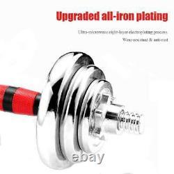 Réglable 44 Lb Poids Haltère Set Cap Gym Barbell Plaques Body Workout Fitness