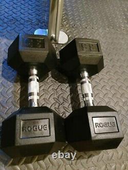 Rogue Fitness 35lb Paire Rubber Hex Haltères, 35 Lb Haltère, 70 Lbs Total, Nouveau