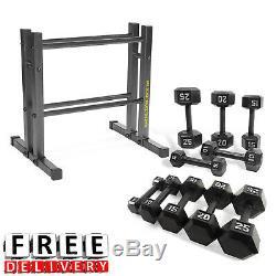 Set Haltère 150lb Rack Fer Poids Commercial Gym Fitness Equipment Exercice