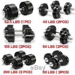 Set Haltères Poids Cap Gym Exercice Entraînement Barbell 40 50 52,5 60 105 200 Lbs