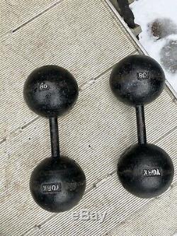 Set Rare Antique Vintage 80 Lb York Barbell Globe Haltères Avec L'histoire